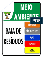 Placa de Sinalização Ambiental - Baia de Resíduos