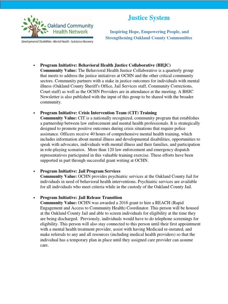 Oakland County Justice System Programs   Naloxone   Prison