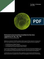 Declaracion de inconstitucionalidad de decretos legislativos N°762, 763 y 764