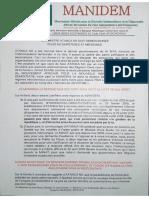 MANIDEM répond sèchement à Atangana Nji [Document]