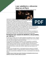 El Divorcio Por Adulterio o Divorcio Por Infidelidad en El Perú