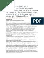 Entrega de Apoyos 2015 a Productores de Maíz Amarillo y Frijol, y Entrega de Equipo Tecnológico a Extensionistas