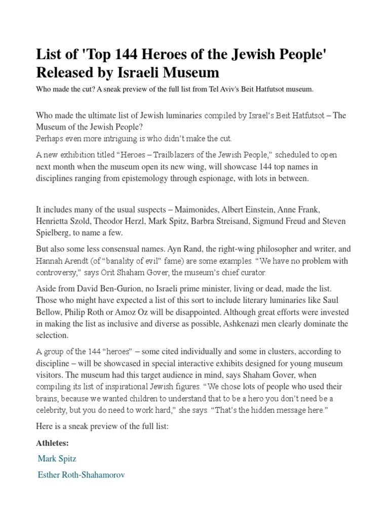 144 Jewish Heroes   Israel   International Politics