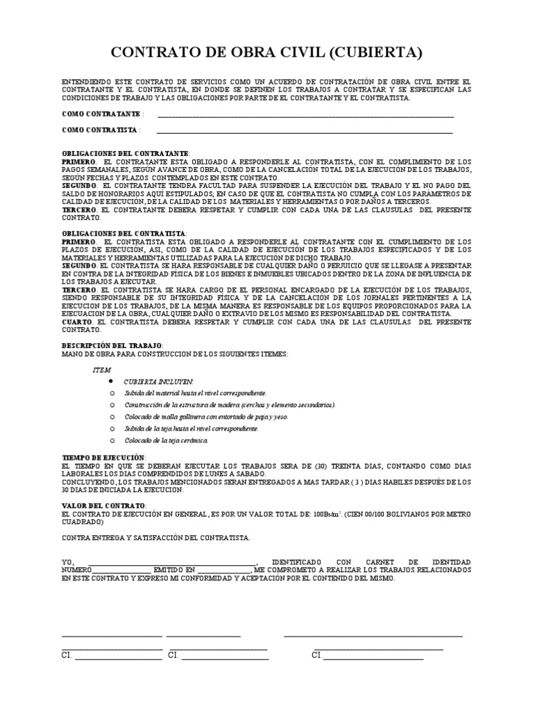 Modelo Cto De Trabajo 1 Of Modelo Contrato Obra Fozteecom