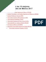 Ranking de Las 10 Mejores Universidades de México 2017