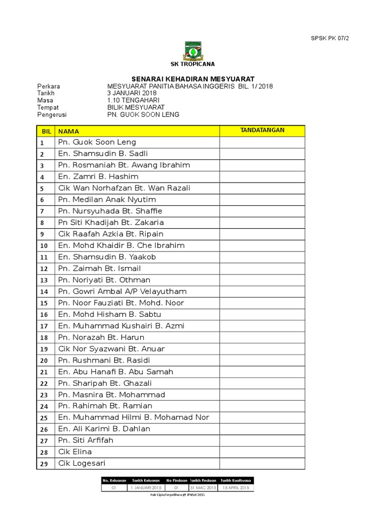 Borang Senarai Kehadiran Mesyuarat