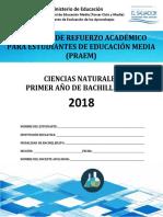 Primera Prueba de Avance de Ciencias Naturales -Primer Año de Bachillerato- 2018