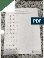Multiplication Answer Key
