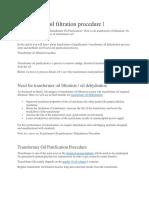 Transformer Oil Filtration Procedure