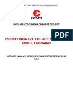 Escorts Agri Faridabad - Process of Production of Rear Axle - Mechanical Engg. (ME) Summer Innternship