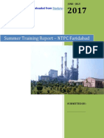 NTPC Faridabad - Electrical Engg. (EE) 6 Week Summer Industrial Training Project Report