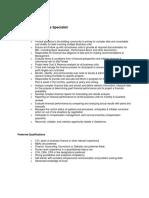Finance & Operation Specialist Job Description
