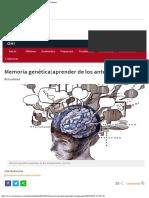 Memoria Genética aprender de Los Antepasados Los Tiempos