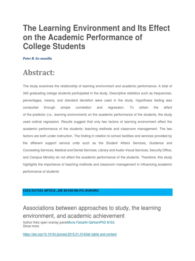 The Learning Environment and Its Effect on the Academic