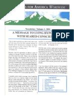 Newsletter Volume 1. Scriptures For America 2001