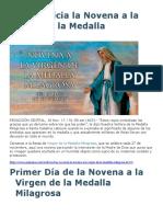 Hoy Se Inicia La Novena a La Virgen de La Medalla Milagrosa