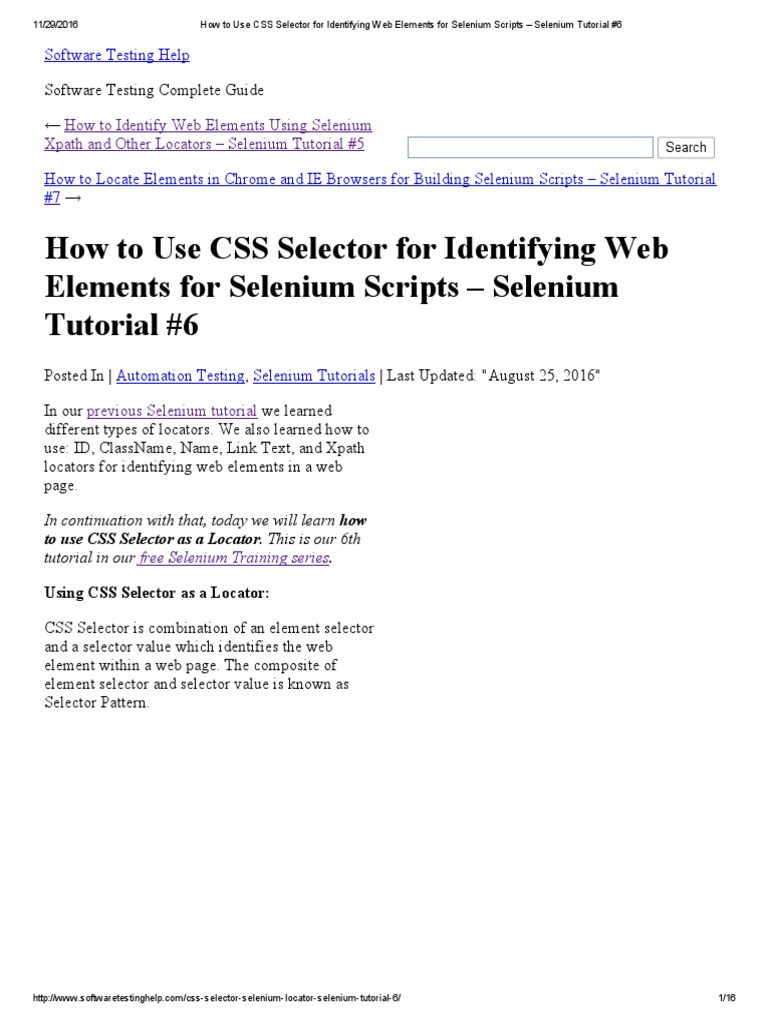 How to Use CSS Selector for Identifying Web Elements for Selenium