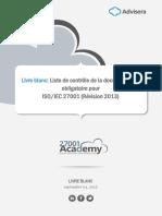 Checklist of ISO 27001 Mandatory Documentation White Paper FR