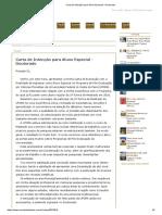 Carta de Intenção Para Aluno Especial - Doutorado