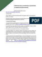 Requisitos Para La Inscripción a Maestrías y Especializaciones