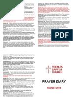 Prayer Diary August 2018