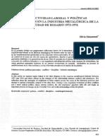Conflictividad Laboral y Políticas Disciplinarias en La Industria Metalúrgica de La Ciudad de Rosario 1973-1976. Aproximaciones Teóricas y Estudio de Caso.