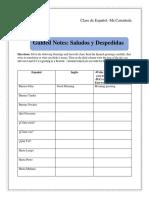 Guided Notes Unit Saludos Y Despedidas