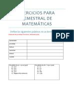 Ejercicios Para Semestral de Matemáticas
