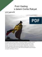 Legenda Putri Gading Cempaka Dalam Cerita Rakyat Bengkulu