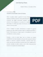 Carta de Andrés Manuel López Obrador enviada Donald Trump