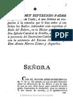 Carta Del Muy r.p. Fray Diego de Cádiz, A Una Sra., En Respuesta a La Consulta Que Le Hizo Sobre Si Son Lícitos Los Bayles, Habiéndole Oído Reprobar El Bayle Del Bolero