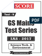 GS Score 2017 Mains Test 9 With Solutions - Science Technology & Environment