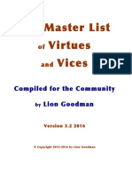 Virtues, Vices and Values - The Master List - 2016