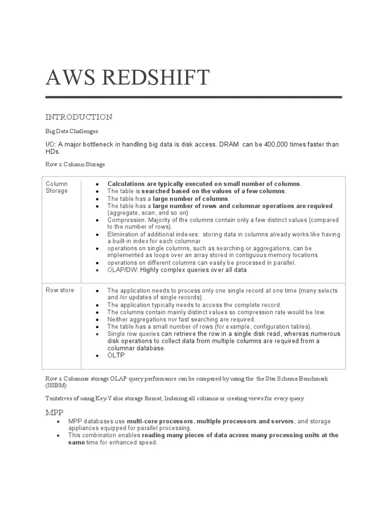 aws redshift pdf | Data | Computer Programming