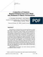 Article 3. Production of Acetone Butanol Ethanol From Corn Mash and Molasses in Bath Fermentation