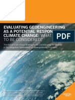Evaluating Geoengineering as a Potential Respon Climate Change