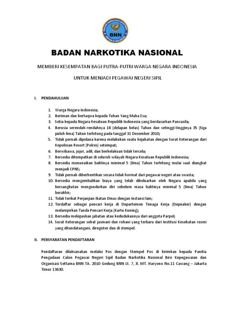 Contoh Surat Lamaran Kerja Di Bnn Non Pns