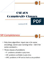 Lecture 40(Complexity Classes)
