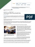 McDonald's May Drop Health Plan