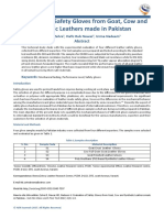Evaluation of Safety Gloves from Goat, Cow and Synthetic Leathers made in Pakistan