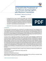 Challenges Faced in the Treatment of Idioms and Phrases during EnglishPunjabi Machine Translation