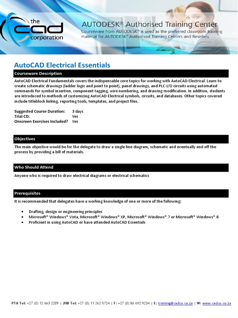 cadco training brochure autocad electrical essentials auto cad