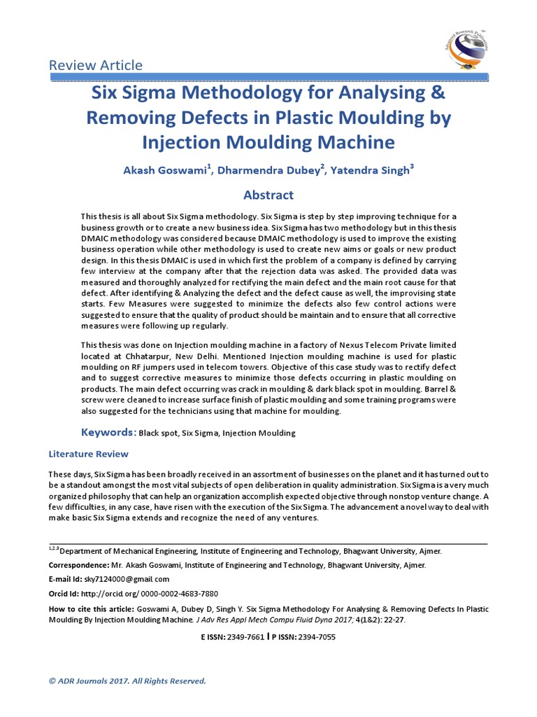 Six Sigma Methodology for Analysing & Removing Defects in Plastic