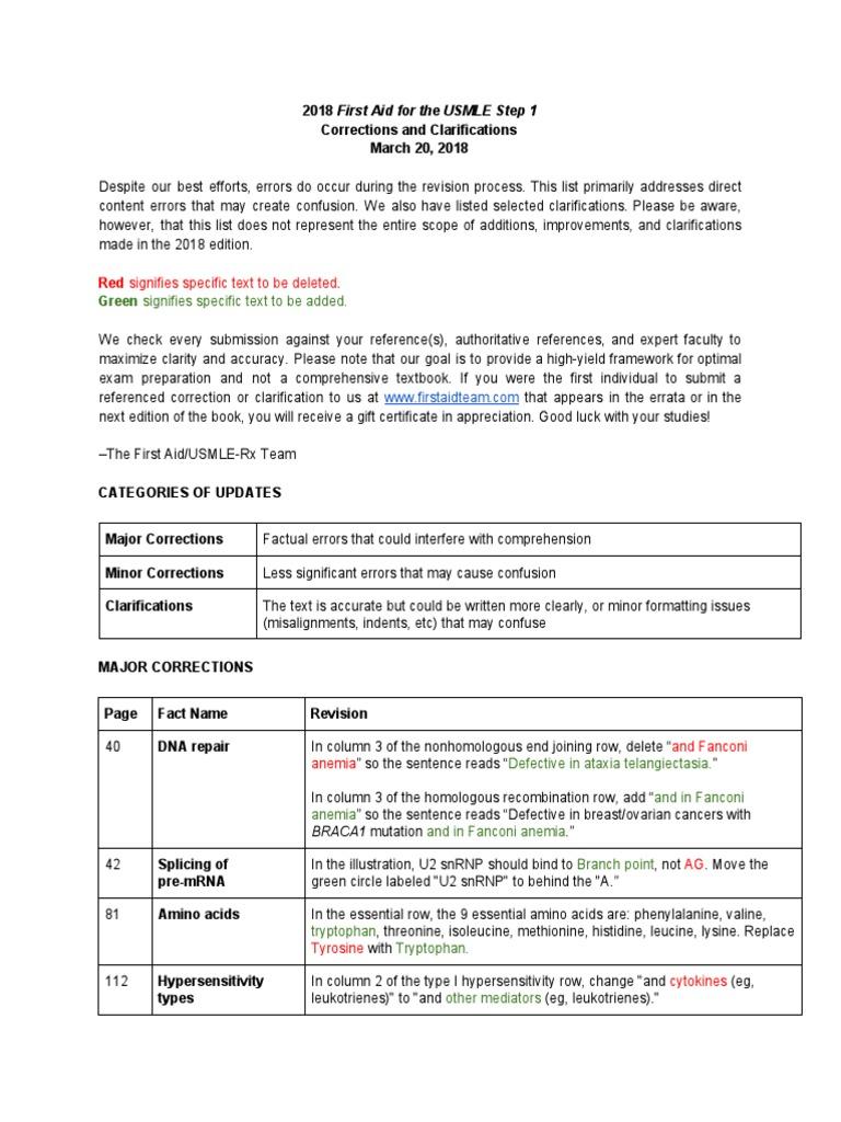 Errata 2018 First Aid for the Usmle Step 1-03-20 2018