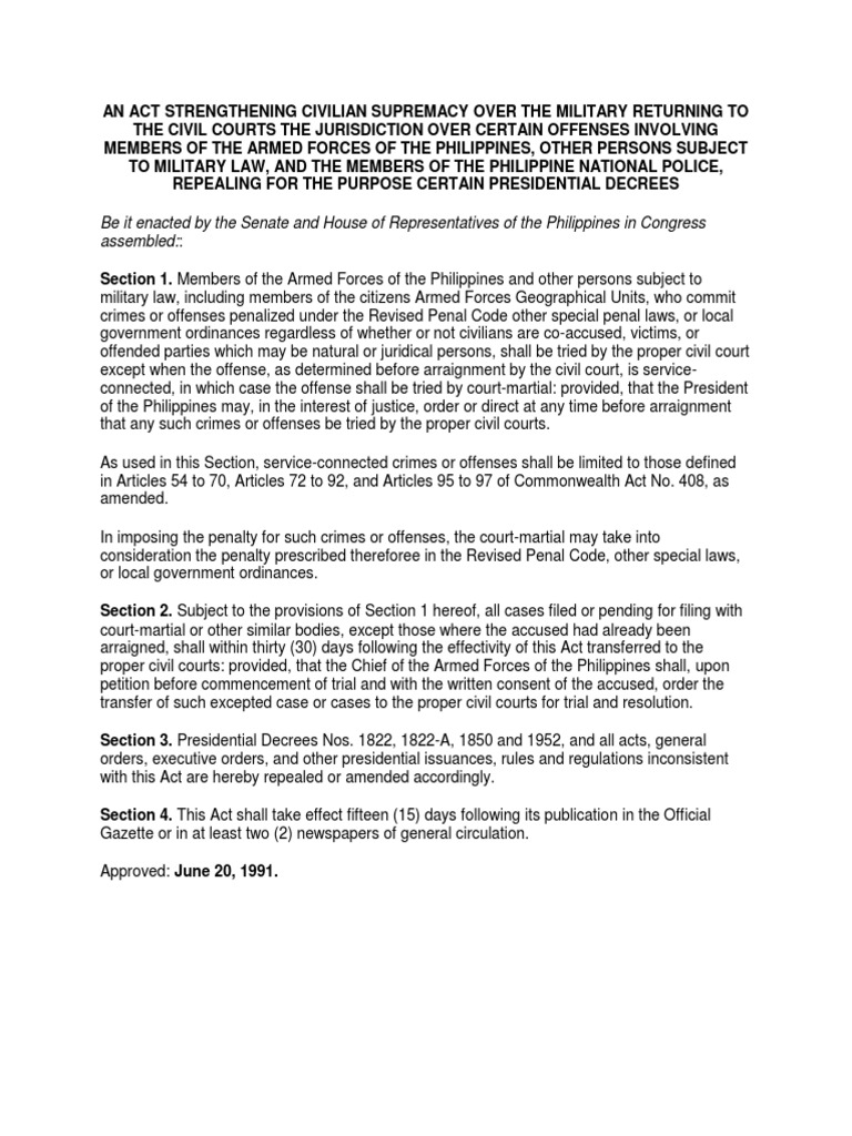ra 7055.docx | court martial | military justice