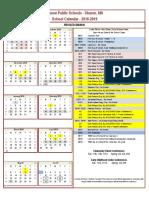 2018-19 Sharon Calendar