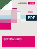 2015 CIMA Professional Qualification Syllabus