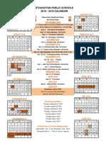 2018-19 Stoughton School Calendar
