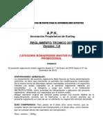 Reglamento Tecnico Bonaerense Master Kart Plus Promocional 2018