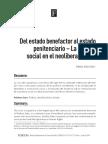 Tobón Sanín, Gilberto. Del Estado Benefactor Al Estado Penitenciario -La Política Social en El Neoliberalismo